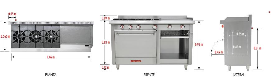 Estufa ec 3h grill petit estufa inox ec 3h estufa acero for Cocina industrial medidas